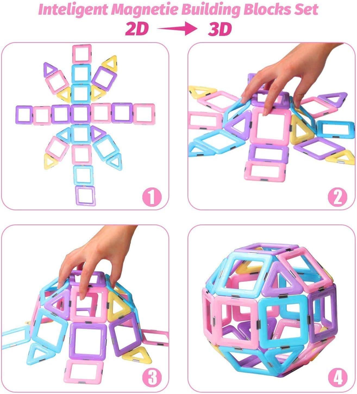 Magnetic Tiles 3D Magnetic Toys Educational STEM Toys Tiles Set Castle Toys for 3 4 5 Year Old Boys Girls Gifts DEJUN Magnetic Building Blocks for Kids 40 PCS