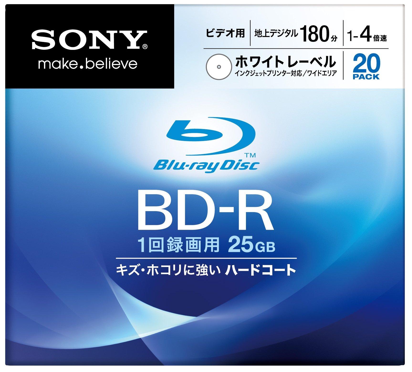 Sony Blu-ray Disc 20 Pack - 25GB 4X Speed BD-R - White Inkjet Printable [2010 Version]