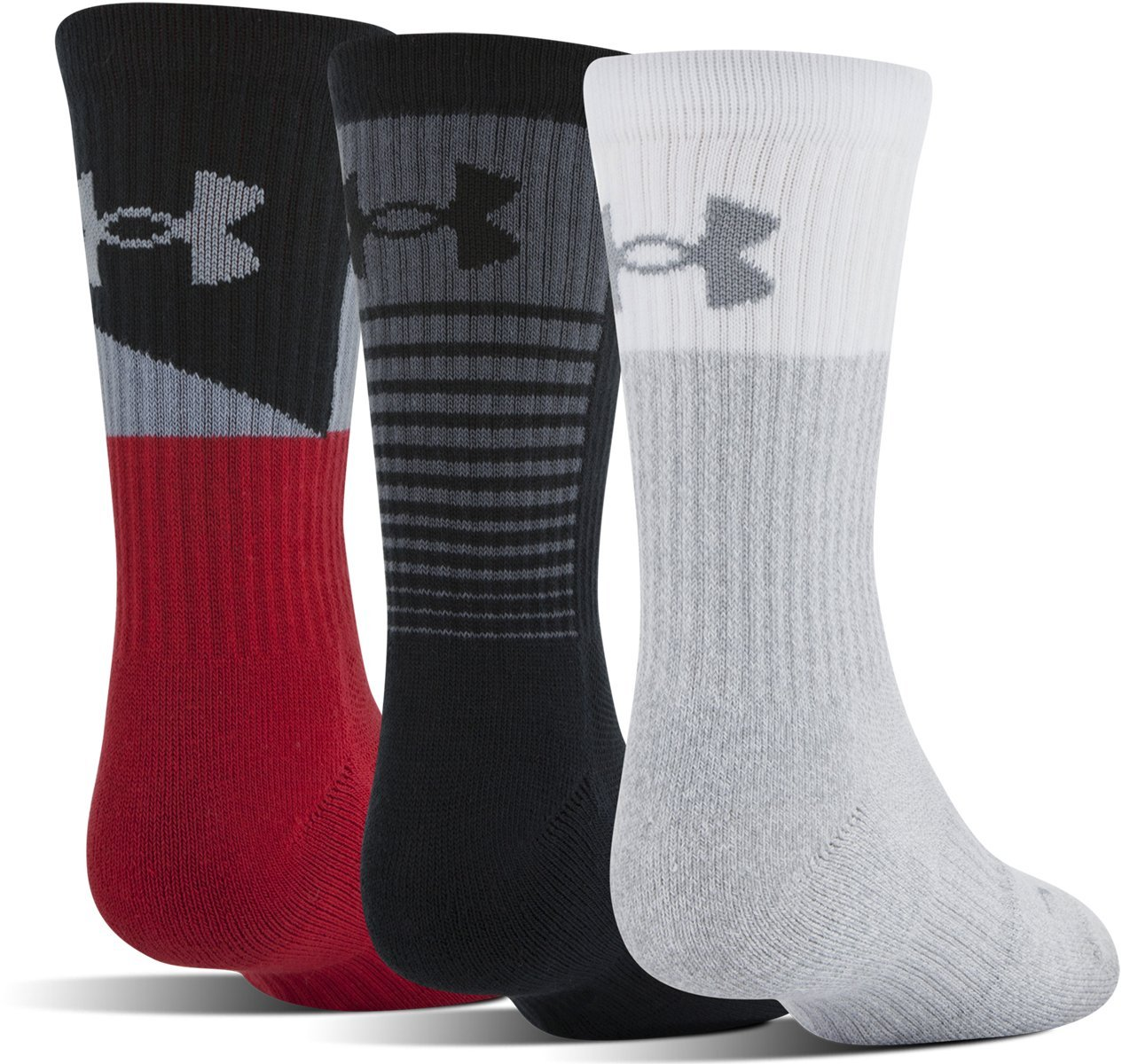 Under Armour Youth Phenom 3.0 Crew (3-Pack), Red/Assorted, Youth Large