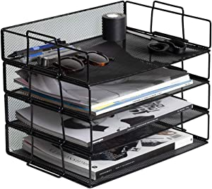 Klickpick Office 4 Tier Stackable Heavy Duty Metal Desktop Letter Tray File Organizer Sorter Desk Document Organizer Shelf Tray Magazine Holder Paper File Newspaper Organizer Tray - Black (Black)