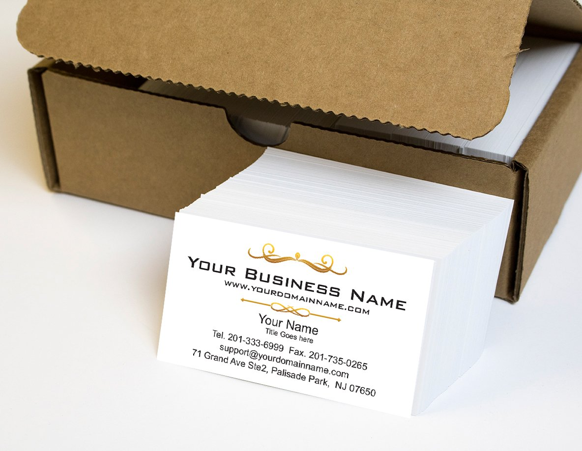 Simple Custom Premium Business Cards 500 pcs Full color - White front-White back (129 lbs. 350gsm-Thick paper), Offset Printing, Made in The USA
