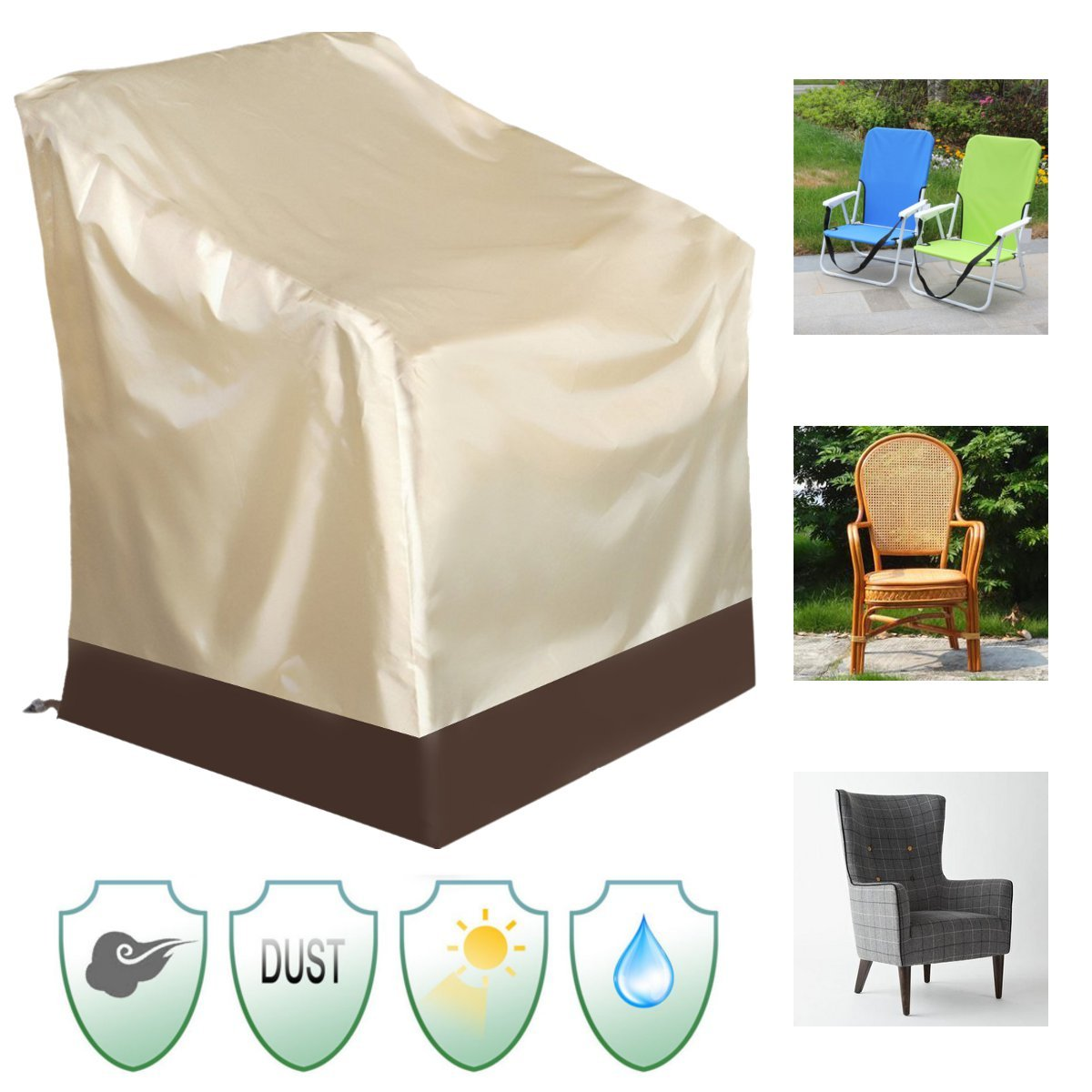 Thyway Patio Table Cover, 6.3828.7433.07inch Waterproof High Back Chair Cover Outdoor Patio Yard Furniture Protection