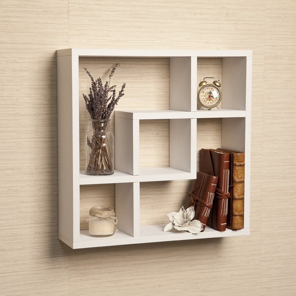 amazoncom geometric square wall shelf with  openings home  - amazoncom geometric square wall shelf with  openings home  kitchen
