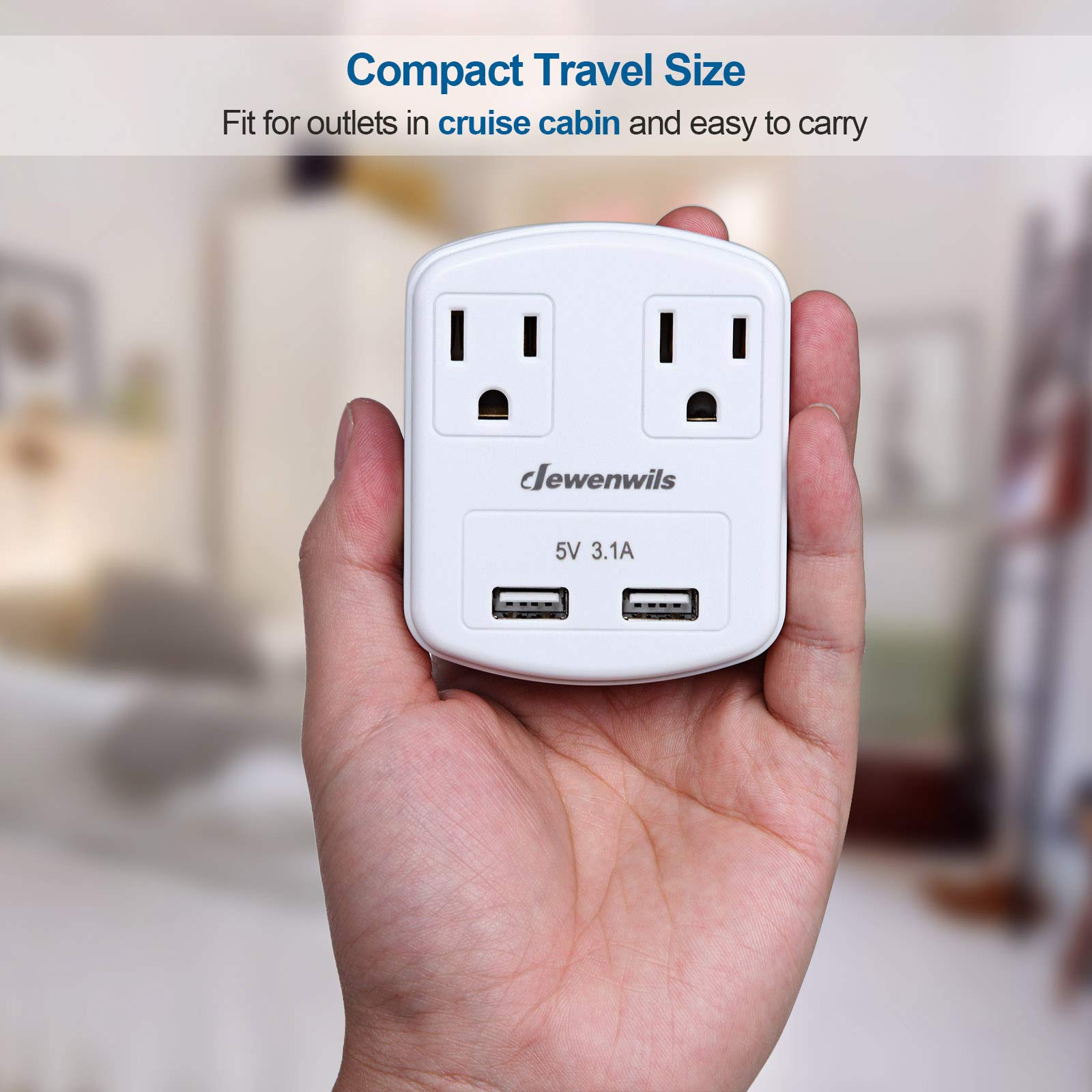 Dewenwils Multi Outlet Plug with 2 USB Ports (3.1A Total), Small Power Strip USB Charger for Cruise Ship/Hotel / Dormitory, Compatible with GFCI, ETL Listed, White by DEWENWILS (Image #3)