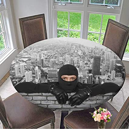 Mikihome Round Table Tablecloth Roofers Ninja Against The Backdrop of The City for Wedding Restaurant Party 47.5