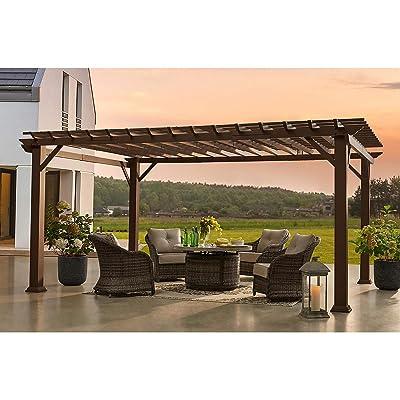 "More Sweet Deals Large Pergola 12' x 16"" Galvanized Steel Powder Coated Durable Outdoor Patio Garden Shelter Home Decor: Garden & Outdoor"
