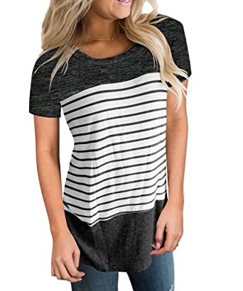 e1f59d72388c0 Vemvan Womens Short Sleeve Round Neck T Shirts Color Block Striped Causal Blouses  Tops