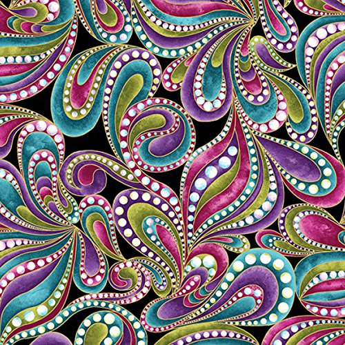 (Colorful Paisley Print, Black Background, Cat-I-Tude, Ann Lauer, Benartex, By the Yard)