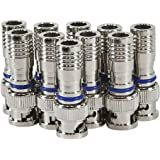 HDView 10PCS CCTV Male BNC Compression Connector RG59 Coax Cable Adapter for Security Camera, Best Quality