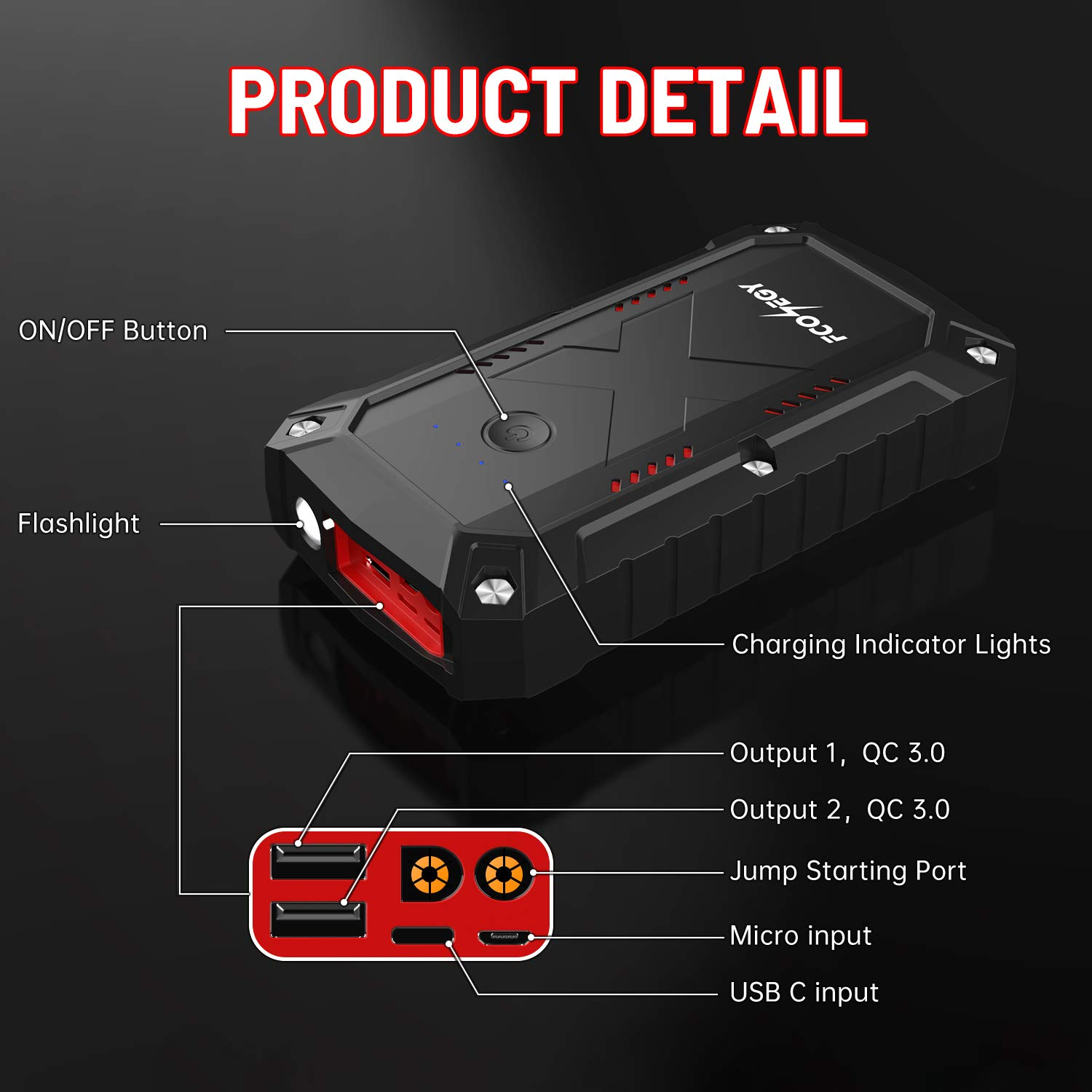 SANROCK Portable Car Battery Jump Starter 2500A 22800mAh 12V Auto Portable Power Pack Battery Booster Built-in LED Light in/&Out Type-C with USB Qick Charge up to 8.0L Gas or 8.0L Diesel