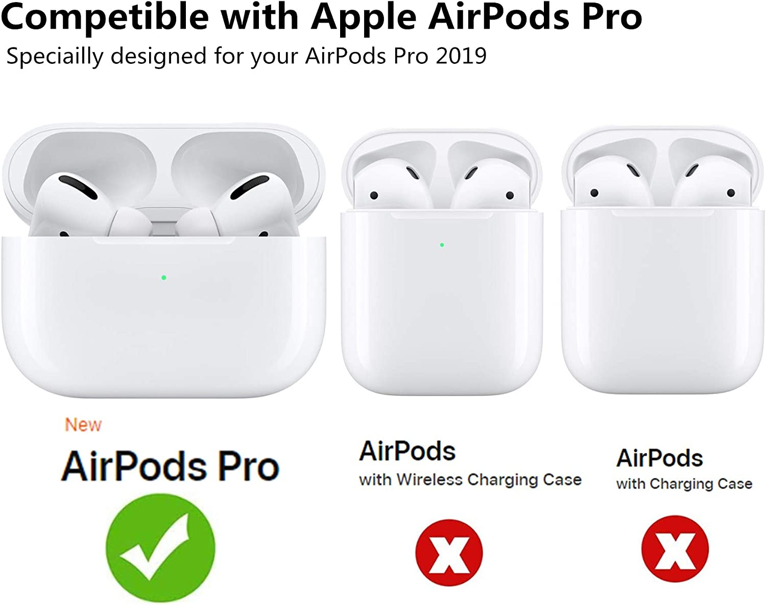Airpods Pro Accessories Cute Soft Silicone Protective Shockproof Cases with Portable Keychain//Strap//Watch Band Holder//Hard Carrying Case for Apple Airpods 3 Black FILOTO Airpods Pro Case Cover