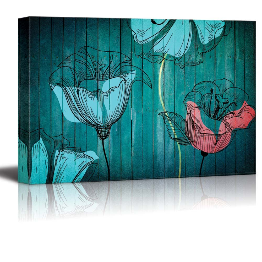 Illustration Of Blue And Pink Flowers Over Teal Wooden Panels