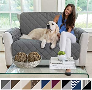 MIGHTY MONKEY Premium Reversible Chair and a Half Slipcover, Seat Width to 48 Inch Furniture Protector, 2 Inch Elastic Strap, Washable Armchair Slip Cover, Dogs, Chair and a Half, Charcoal Light Gray