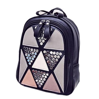 Amazon.com: KEBINAI Women Backpack Geometric Patchwork Female School Bags PU Leather Backpacks for Teenagers Girls Mochila BlackL20xW10xH30cm: Shoes