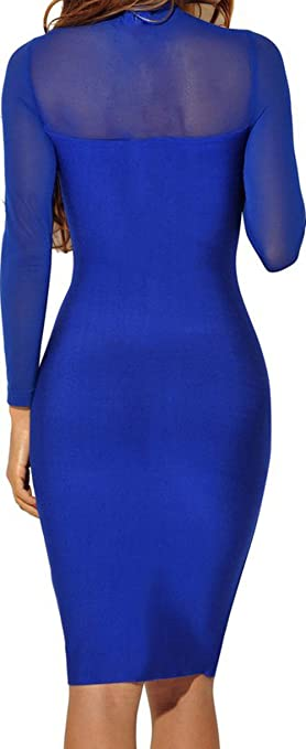 Amazon.com: For G and PL Womens Sexy Sheer Long Sleeves Bodycon Stretch Club Dress: Clothing