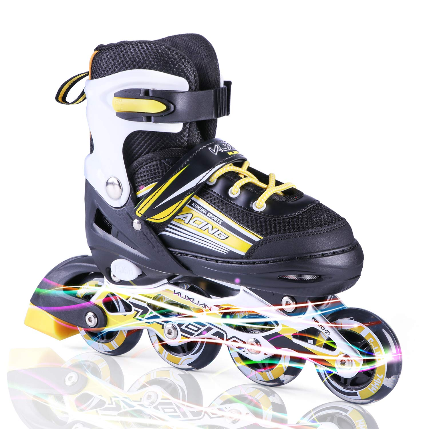 Kuxuan Sayo Inline Skates Adjustable for Kids,Boys Rollerblades with All Wheels Light up,Fun Illuminating for Girls and Youth - Yellow M
