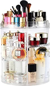 Makeup Organizer, Boxalls Rotating 360 Degree Crystal Adjustable Jewelry Cosmetic Perfumes Display Stand Box, 380 x 260 MM 8 Layers Great Capacity Make Up Storage for Dresser, Bedroom, Bathroom