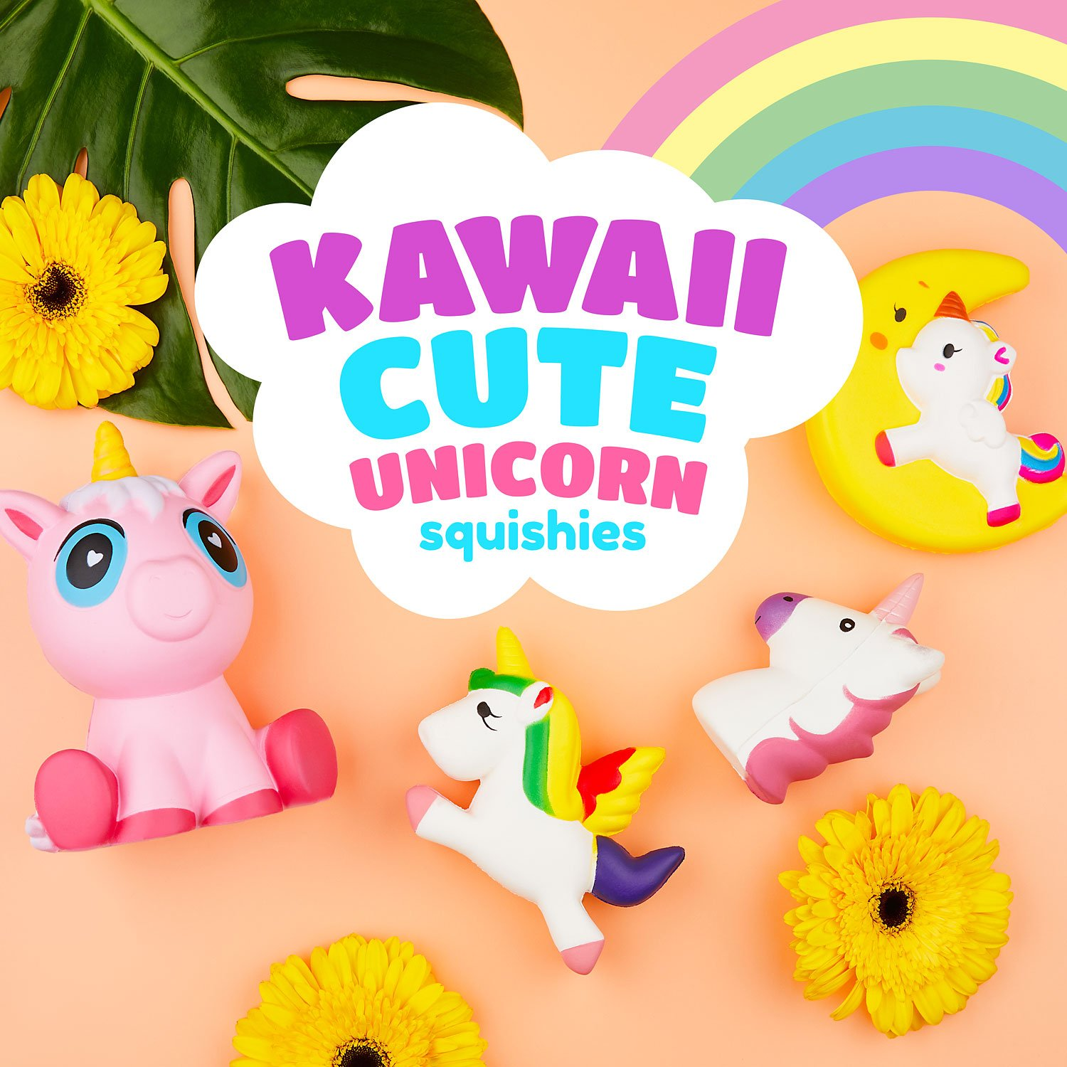 CORAL ENTERTAINMENTS Jumbo Unicorn Squishies Set 4 Piece Kawaii Slow Rise Foam Extra Large Unicorn Party Supplies Giant Squeeze Childrens Collectible Stress Fidget Toys