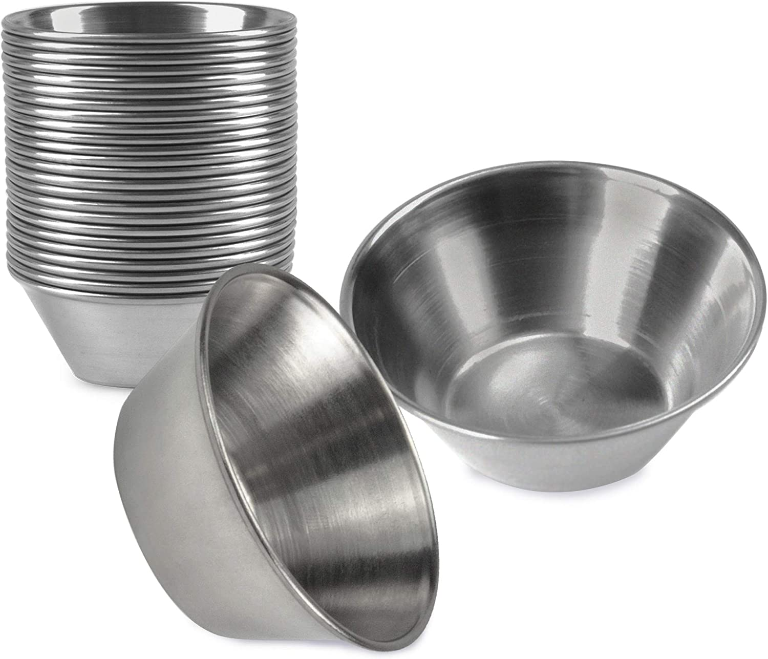 Copper-Plated Stainless Steel Sauce Cups- Portion Cups 12 pack, 1.5 oz Dipping Cups Ramekins