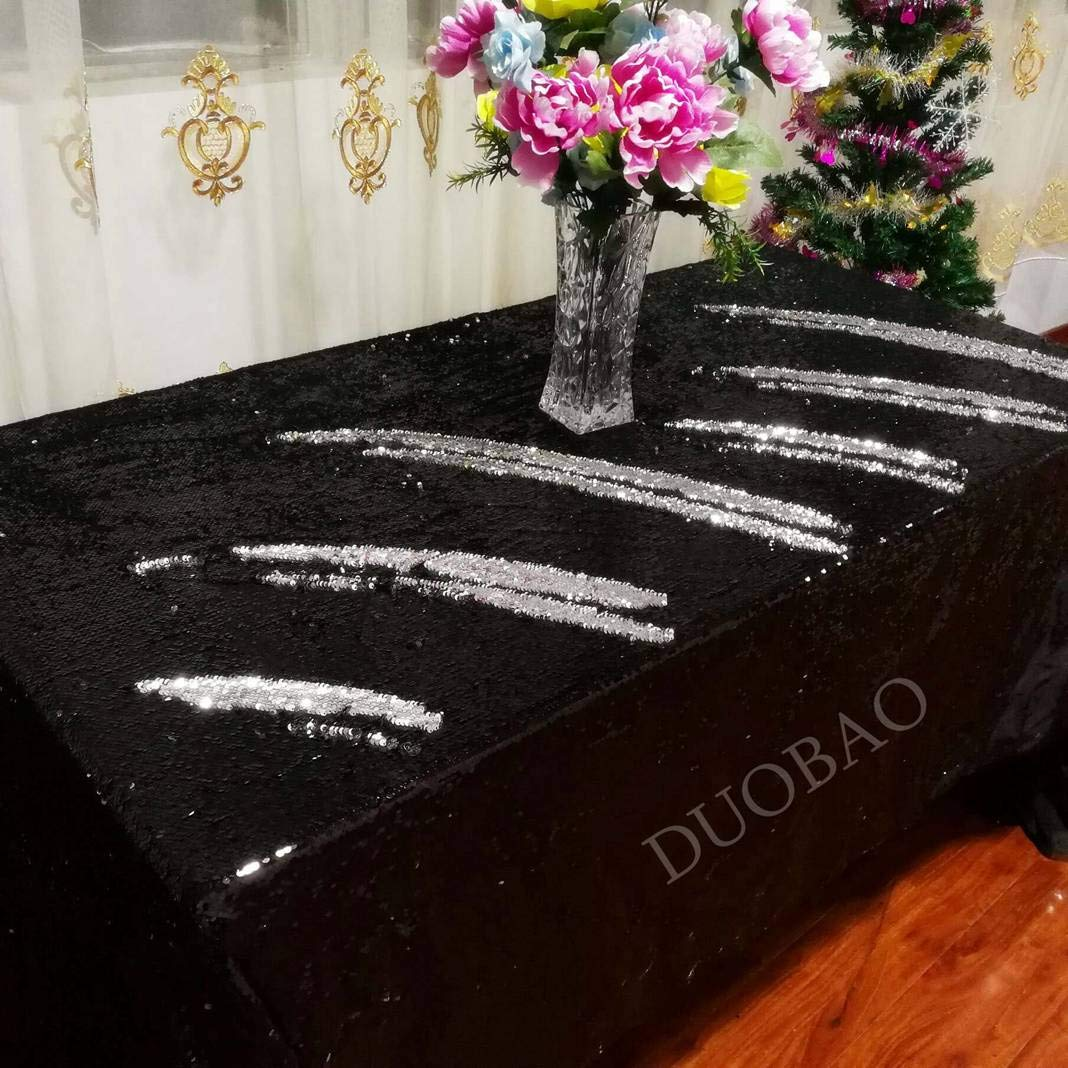 Sequin Tablecloth 72x108-Inch Black Glitter Tablecloth Black to Silver Two Tone Sequin Fabric Mermaid Party Decor