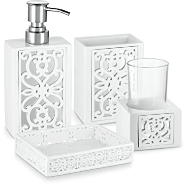 DWELLZA Mirror Janette Bathroom Accessories Set, 4 Piece Bath Ensemble, Bath Set Collection Features Soap Dispenser Pump, Toothbrush Holder, Tumbler, Soap Dish- White