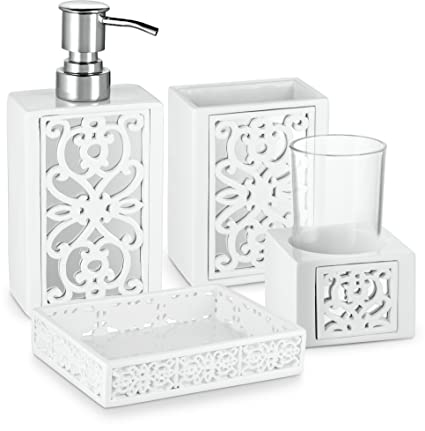 Amazon.com: Dwellza Mirror Janette Bathroom Accessories Set, 4 Piece on bathroom decorating ideas ocean colors, bathroom window decorating ideas, bathroom vanity decor ideas, bathroom ocean theme home decor, bathroom romantic candles and roses, bathroom decor sets, bathroom makeover on a budget, bathroom wood ceiling ideas, bathroom vanities with makeup area,