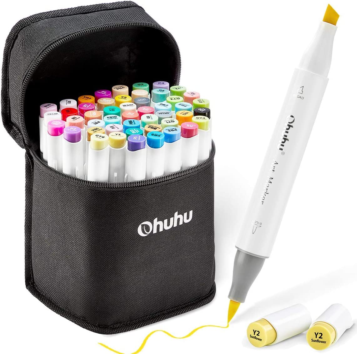 48 Colors Alcohol Brush Markers, Ohuhu Double Tipped ( Brush & Chisel ) Sketch Markers for Kids, Artist Art Markers, Adult Coloring and Illustration, Comes w/ 1 Colorless Alcohol Marker Blender