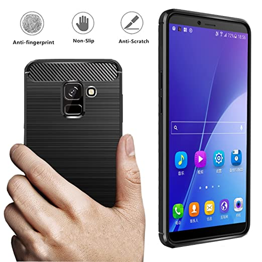 Dretal Galaxy J6 2018 Case, Carbon Fiber Shock Resistant Brushed Texture Soft TPU Phone case Anti-Fingerprint Flexible Full-Body Protective Cover for ...