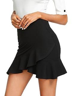 2bdbb64f7 WDIRARA Women's Mid Waist Above Knee Asymmetrical Ruffle Hem Overlap  Bodycon Skirt