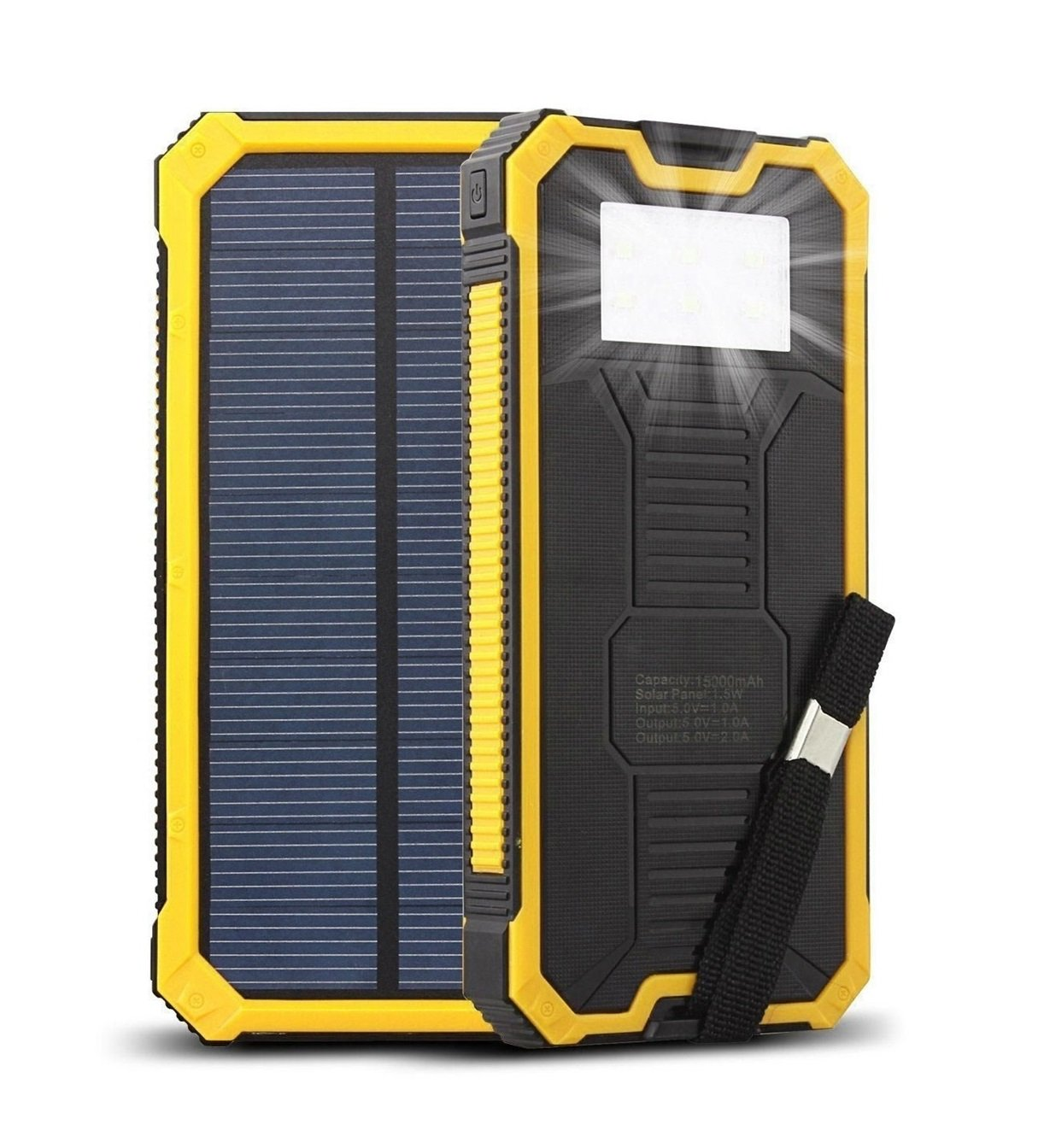 Solar Charger, IYUT 15000mAh Dual USB Port External Phone Battery Pack Solar Power Bank Charger Waterproof with LED Emergency Light for iPhone, iPad, Samsung, Laptops, Father Day 's gift (Yellow)