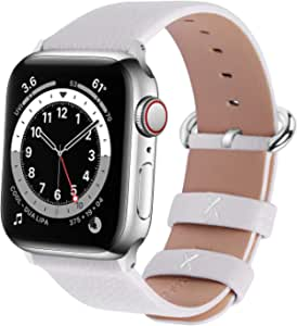 Fullmosa Compatible Apple Watch Band 42mm 44mm 40mm 38mm Calf Leather Compatible iWatch Band/Strap Compatible Apple Watch SE & Series 6 Series 5 Series 4 Series 3 Series 2 Series 1, 44mm 42mm White