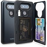 LG V20 Case, TORU [Slim Hard Wallet Case Dark Blue] Dual Layer Hidden Credit Card Holder ID Slot Card Case with Mirror and USB Adapter for LG V20 (2016) - Metal Slate