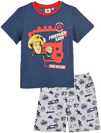 Feuerwehrmann-Sam Schlafanzug Shorty Kinder Pyjama Kurzarm 2 TLG f/ür Jungen