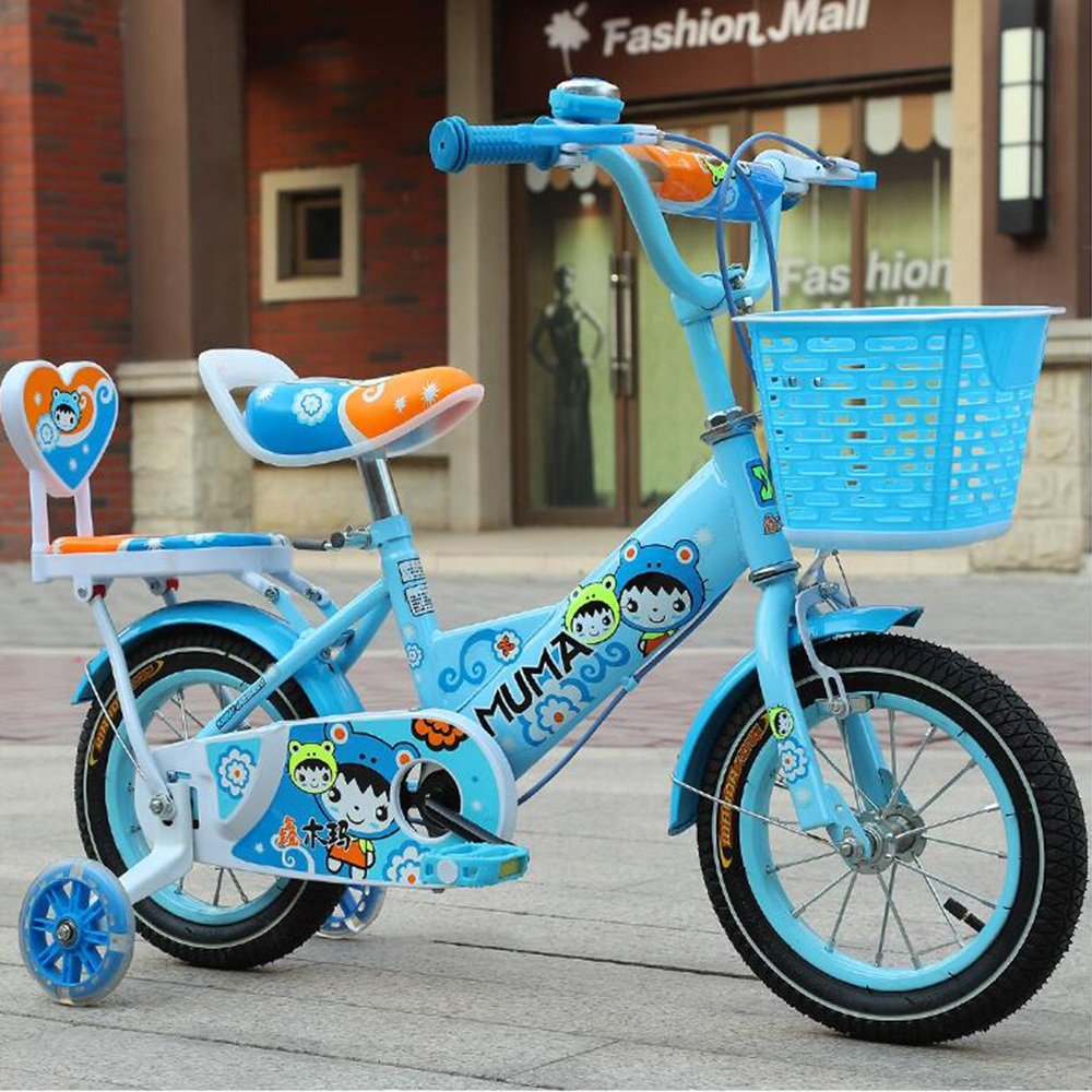 YANGFEI 子ども用自転車 バスケット付きガールズバイク、トレーニングホイール付き12,14,16,18インチのガールズバイク、子供用のギフト、女の子の自転車 212歳 B07DWS1MC5 18 inch|青 青 18 inch