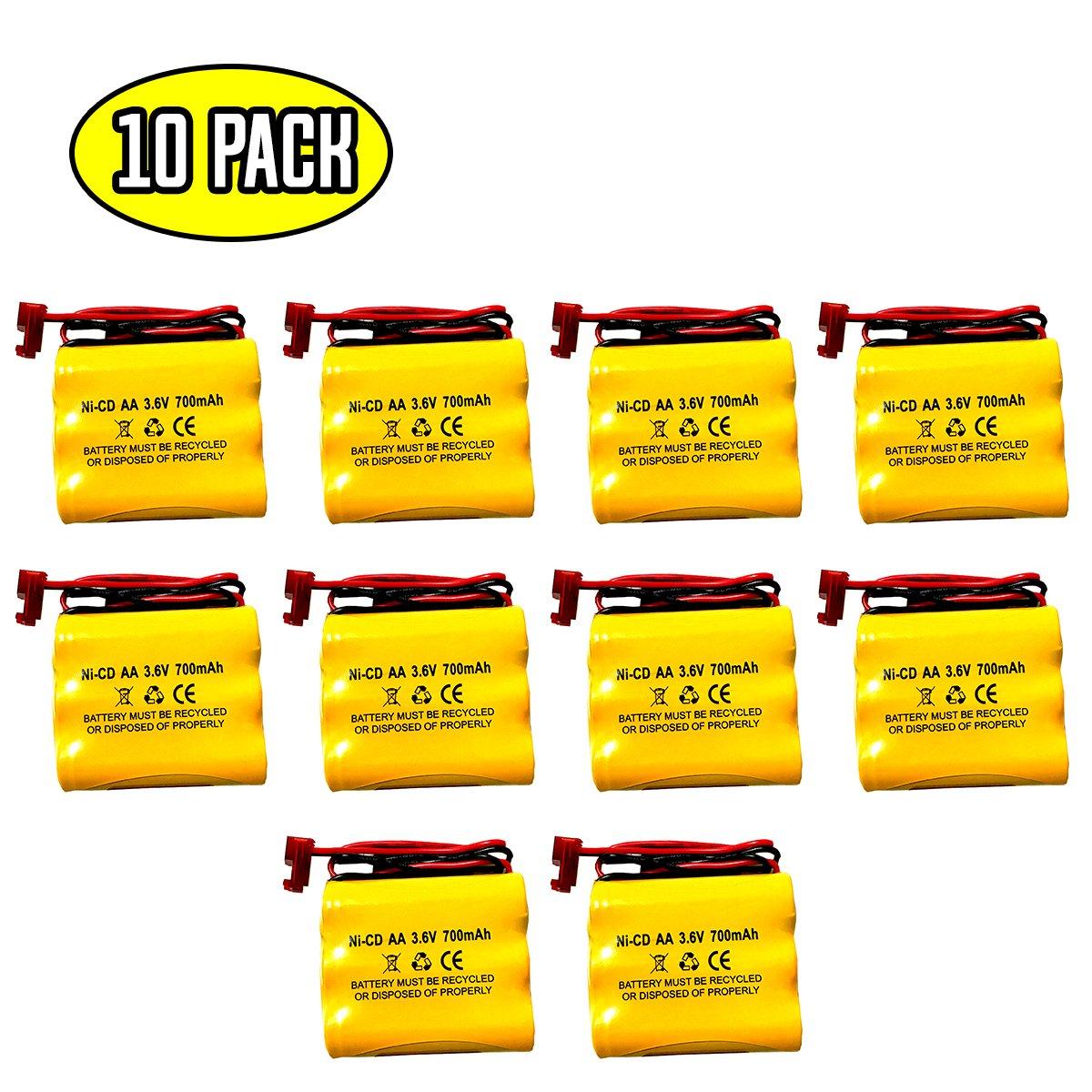 10 Pack BGN800-3DWP-41REC LPX70RWH NNYXSB NIC0553 ANIC0553 41B020AD13301 BNP3700B 3.6v 700mah Ni-Cd Battery Replacement BNP3700B S/L 026-148 Dantona CUSTOM-93 026148 Cooper LPX70RWH Dantona CUSTOM-23 by Battery Hawk