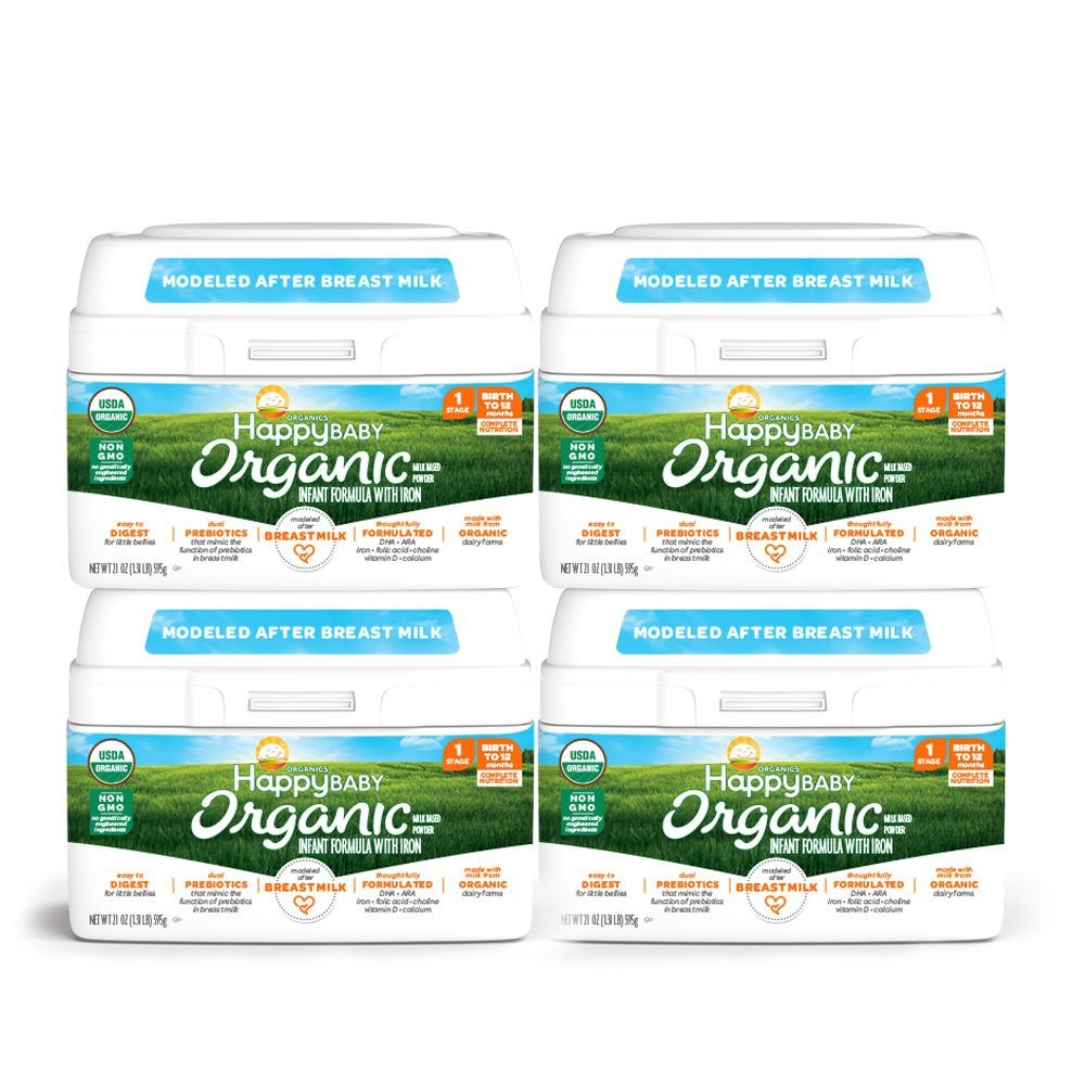 Happy Baby Organic Stage 1 Infant Formula Milk Based Powder with Iron, 21 Ounce (Pack of 4) Organic Formula Dual Prebiotics, Milk Based Powder, Non-GMO Gluten Free, No Corn Syrup Solids