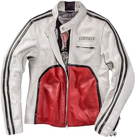 Dainese 1533775/50/WHITE-S-RED Toga 72 Chaqueta de Cuero,