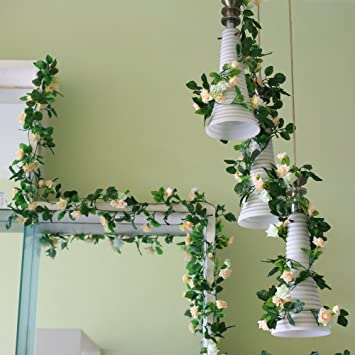 Amazon 8ft rose garland pack of 5 artificial flower garland 8ft rose garland pack of 5 artificial flower garland silk flower vine green leaf vine garland mightylinksfo