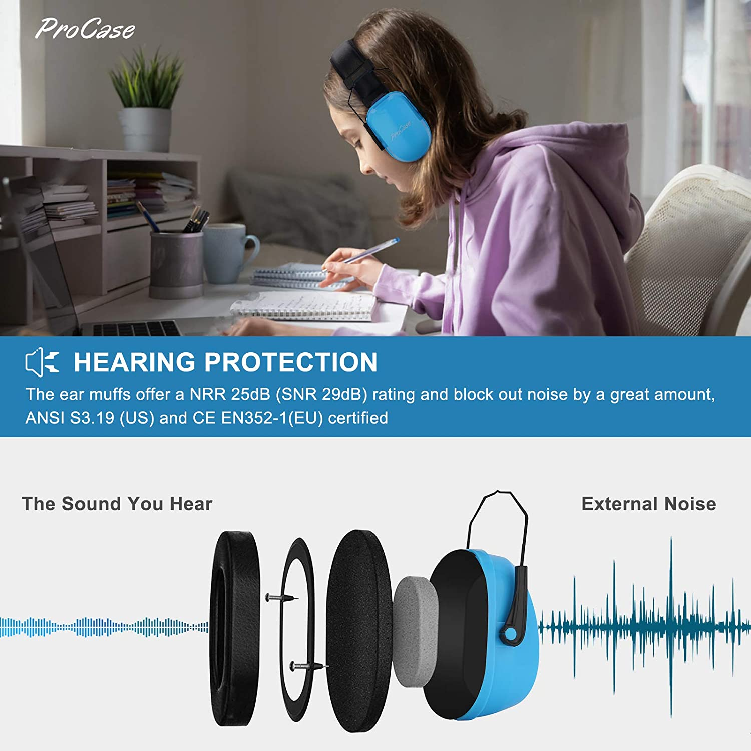 for Party Concert Fireworks ProCase Autism Ear Defenders Kids Headphones for Children Boys Toddler Baby for Age 6 Months to 14 Years Noise Cancelling Ear Muffs Hearing Protectors