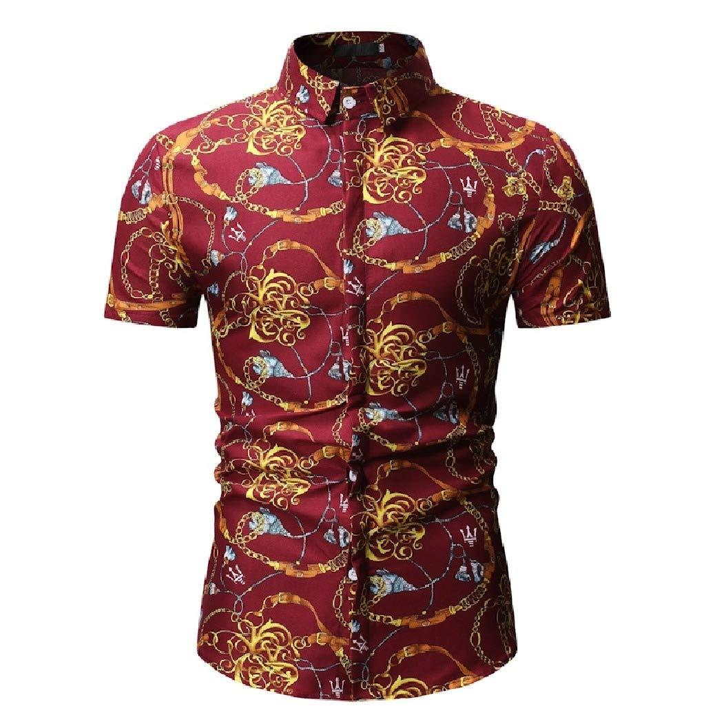 Mfasica Men Short Sleeve Bussiness Silm Fit Beach Floral Printed Work Shirt