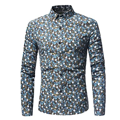 78871c1a6e92da Mamum Gentleman Long-Sleeved Floral Shirt, Man Retro Floral Printed Blouse  Casual Long Sleeve Slim Shirts Tops Light Blue/Yellow: Amazon.co.uk:  Clothing