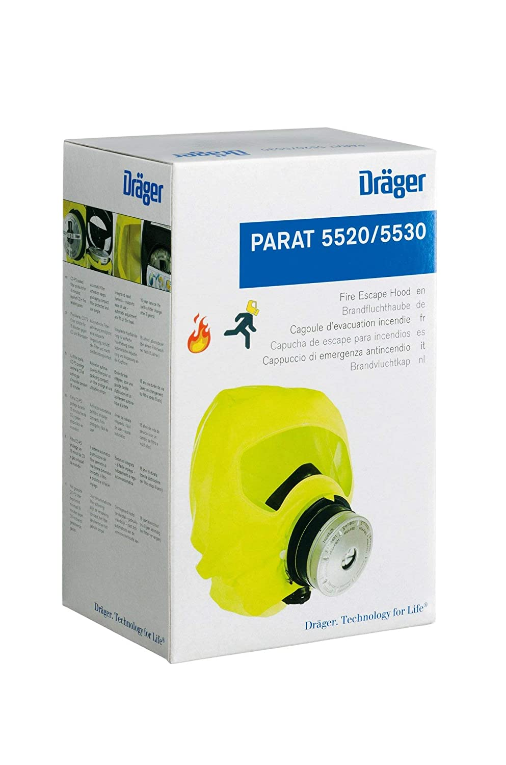 Dräger PARAT 5520 Fire Escape Hood | Fire Emergency Smoke Hood | Breathing Protection in Emergency Situations | Anti-Fog Coating | Safe Evacuation (e.g. ...
