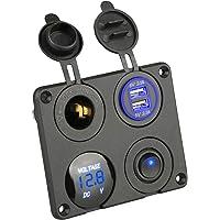 Thlevel USB-autolader, USB-stopcontact voor in een voertuig, 5 V en 4,2 A, voor snel opladen, met led-display…