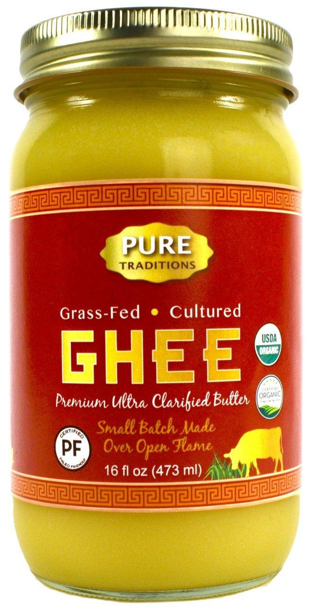100% Organic Grass-Fed Cultured Ghee, Certified Paleo, 16 Fl Oz Jar (16 oz)