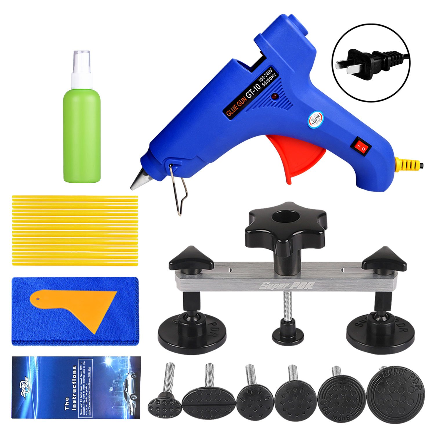 Fly5D 22Pcs Automotive No-scratch Paintless Dent Repair Kit Upgraded Dent Removal Bridge Puller kit by Fly5D (Image #1)