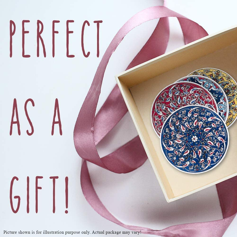 Drink Gift Sets Ceramic Coasters Set of 4 Drinks Coasters for Cups Mugs Glass Drink Mats Coaster Set Moroccan Decorations Mandala Ceramic Pottery Tile Coasters Home Living Kitchen Coffee Table