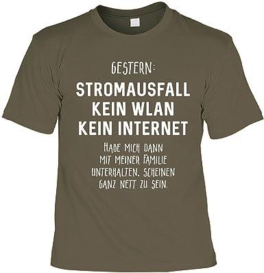 Uberlegen Lustiges Sprüche Shirt Geschenkartikel T Shirt Mit Urkunde Gestern:  Stromausfall Kein WLAN Kein Internet Fun Artikel Partygeschenk: Amazon.de:  Bekleidung