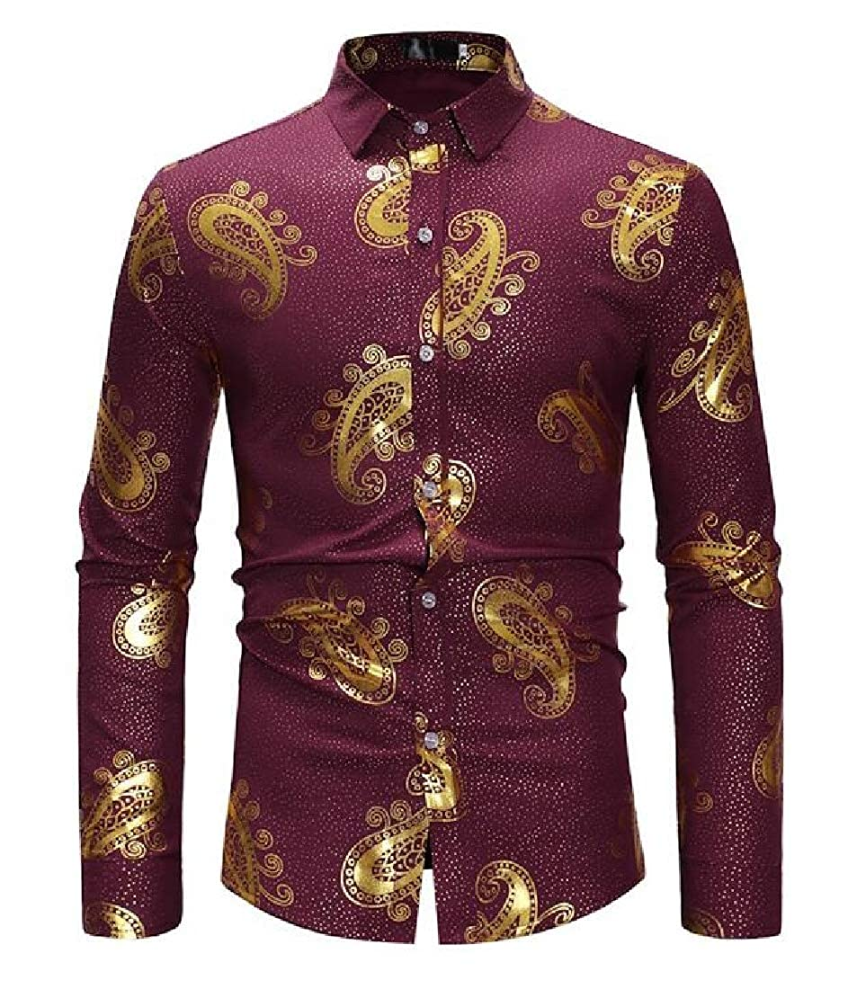 X-Future Mens Printed Casual Long Sleeve Slim Fit Business Button Down Dress Work Shirt