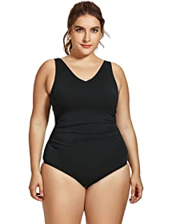 5f0f58a13ef SYROKAN Women's Sport Side Shirred Plus Size Athletic One Piece Swimsuit