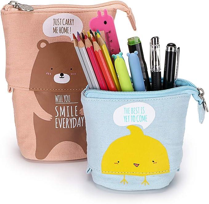 BTSKY Estuche para Lápices Papelería de Lona Variable con Dibujos Animados para niños Color Celeste+Amarillo Pavito: Amazon.es: Oficina y papelería